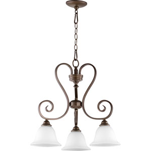 Celesta Oiled Bronze with Satin Opal Three-Light 21-Inch Chandelier