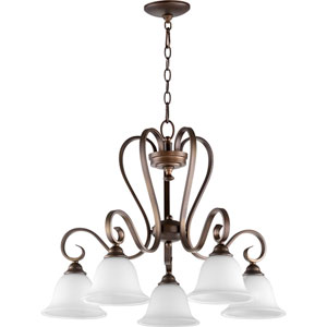 Celesta Oiled Bronze with Satin Opal Five-Light 28-Inch Chandelier
