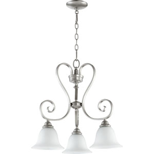 Celesta Classic Nickel Three Light Chandelier with Satin Opal Glass