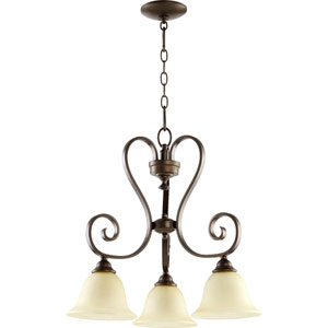 Celesta Oiled Bronze Three Light Chandelier with Amber Scavo Glass