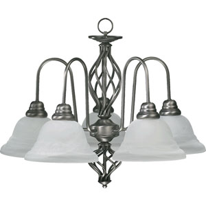 Twist Five-Light Antique Silver Chandelier