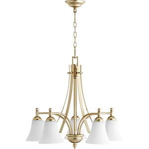 Aspen Aged Silver Leaf with Satin Opal Glass Five-Light 26-Inch Chandelier