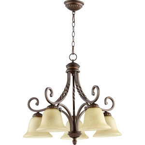 Tribeca Ii Oiled Bronze Five Light Chandelier with Amber Scavo Glass