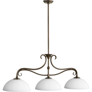Powell Oiled Bronze with Satin Opal Glass Three-Light Island Pendant