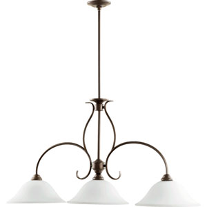 Spencer Oiled Bronze with Satin Opal Glass Three-Light Island Pendant