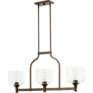 Richmond Oiled Bronze Three-Light 8-Inch Island Pendant with Clear Seeded Glass