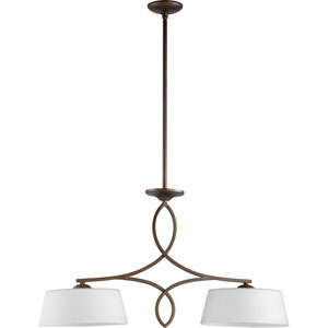 Willingham Oiled Bronze with Satin Opal Glass Two-Light Island Pendant