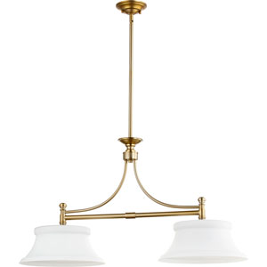 Rossington Aged Brass Two-Light 14-Inch Island Pendant