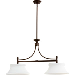 Rossington Oiled Bronze Two-Light 14-Inch Island Pendant