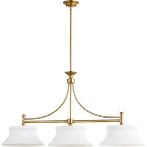 Rossington Aged Brass Three-Light 14-Inch Island Pendant