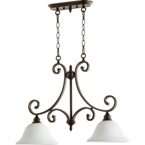 Bryant Oiled Bronze with Satin Opal Glass Two-Light Island Pendant