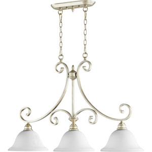 Bryant Aged Silver Leaf 10-Inch Three-Light Island Pendant