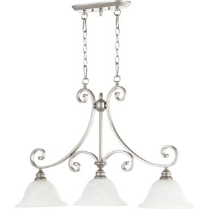 Bryant Classic Nickel Three Light Island Light with Faux Alabaster Glass