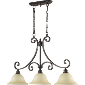 Bryant Three-Light Oiled Bronze with Antique Gold Island Pendant