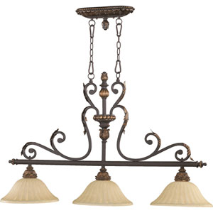 Rio Salado Three-Light Toasted Sienna with Mystic Silver Island Pendant