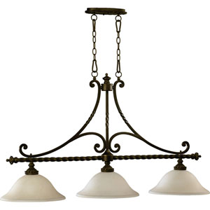 Alameda Three-Light Oiled Bronze with Antique Gold Island Pendant
