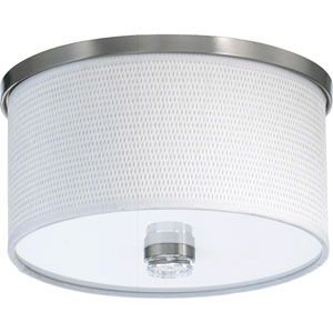 Copeland Satin Nickel One-Light Flush Mount with White Grass Shade