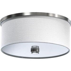 Copeland Satin Nickel Two-Light Flush Mount with White Grass Shade
