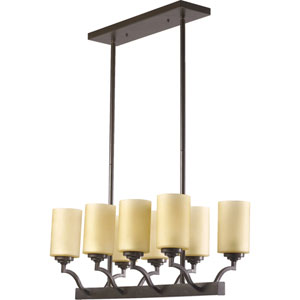 Atwood Eight-Light Oiled Bronze with Antique Gold Island Pendant