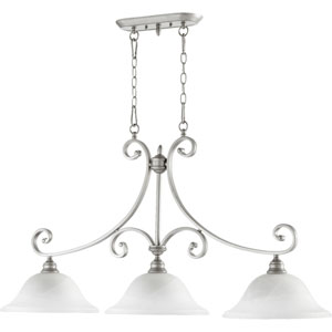 Bryant Classic Nickel 23.5-Inch Three Light Island Light with Faux Alabaster Glass