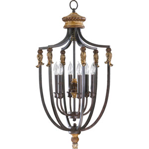 Capella Six-Light Toasted Sienna with Golden Fawn Lantern Pendant