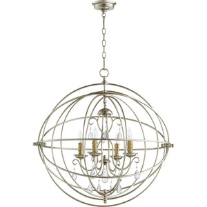 Cilia Aged Silver Leaf 28-Inch Four-Light Chandelier