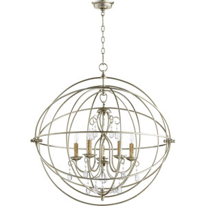 Cilia Aged Silver Leaf Five-Light Chandelier