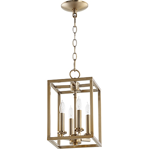 Aged Brass Four-Light 8-Inch Mini Pendant