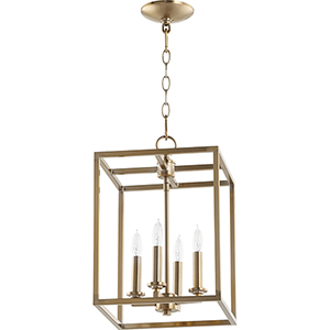 Aged Brass Four-Light 11-Inch Pendant