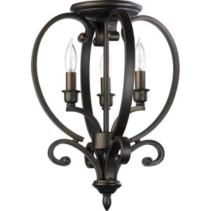Bryant Three-Light Oiled Bronze with Antique Gold Convertible Semi-Flush