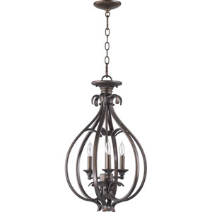 Randolph Medium Three-Light Oiled Bronze with Antique Gold Convertible Semi-Flush