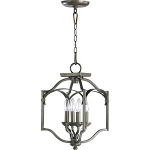 Atwood Four-Light Oiled Bronze with Antique Gold Convertible Semi-Flush