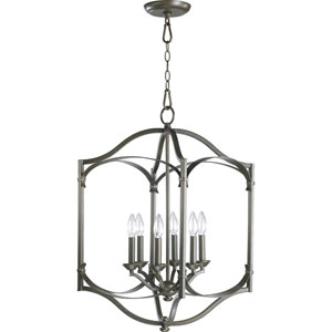 Atwood Six-Light Oiled Bronze with Antique Gold Lantern Pendant