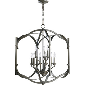 Atwood Nine-Light Oiled Bronze with Antique Gold Lantern Pendant