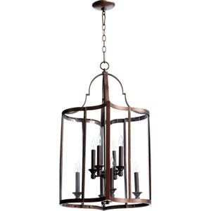 Kaufmann Oiled Bronze 30.25-Inch Eight Light Entry Light with Clear Glass
