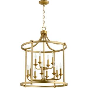 Lancaster Aged Brass Twelve-Light 22-Inch Pendant
