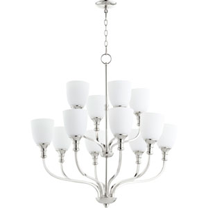 Richmond Polished Nickel Twelve-Light 34-Inch Chandelier