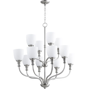 Richmond Satin Nickel Twelve-Light 34-Inch Chandelier