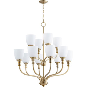 Richmond Aged Brass Twelve-Light 34-Inch Chandelier