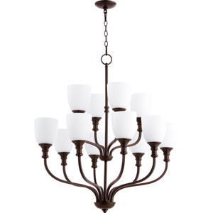 Richmond Oiled Bronze Twelve-Light 34-Inch Chandelier