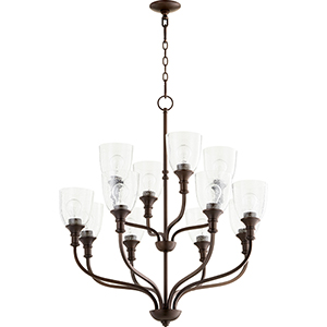Richmond Oiled Bronze 12-Light 34-Inch Chandelier with Clear Seeded Glass
