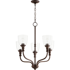 Richmond Oiled Bronze Five-Light 24-Inch Chandelier with Clear Seeded Glass