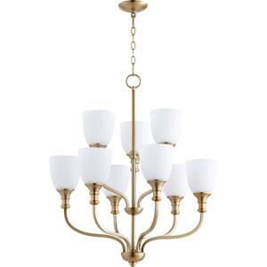 Richmond Aged Brass Nine-Light 26-Inch Chandelier