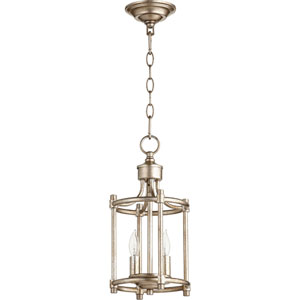 Rossington Aged Silver Leaf Two-Light 8-Inch Mini Pendant