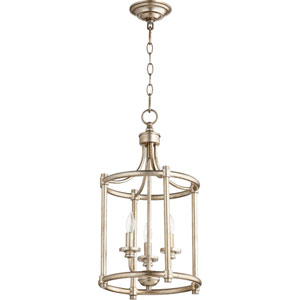 Rossington Aged Silver Leaf Three-Light 12-Inch Pendant