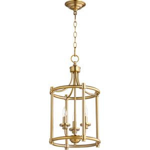 Rossington Aged Brass Three-Light 12-Inch Pendant