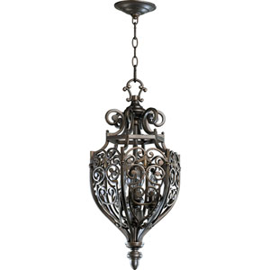 Marcela Three-Light Oiled Bronze with Antique Gold Lantern Pendant