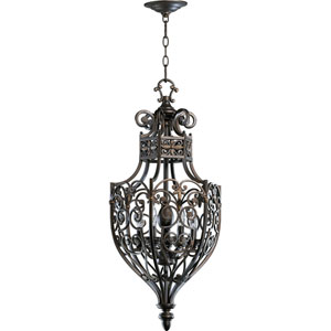 Marcela Six-Light Oiled Bronze with Antique Gold Lantern Pendant