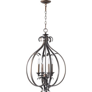 Randolph Four-Light Oiled Bronze with Antique Gold Lantern Pendant