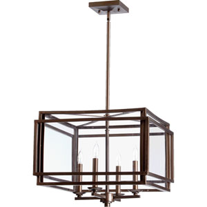 Kaufmann Oiled Bronze Four Light Entry Light with Clear Glass